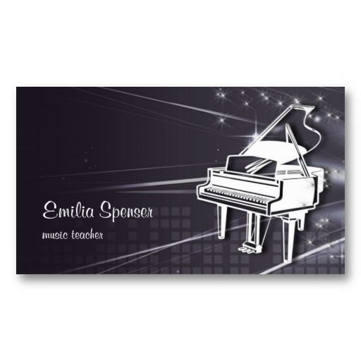Piano music teacher business card