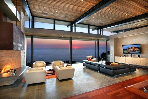 Deckengestaltung Design Ideen Wohnzimmer Holzverkleidung Einbau Spots