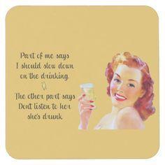 Retro Housewife Funny Quote Drinking Coaster   Zazzle.com
