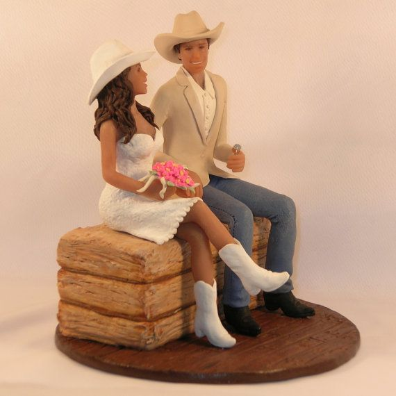 Cowboy Cowgirl Wedding Ideas: Custom Cowboy And Cowgirl Cake Topper