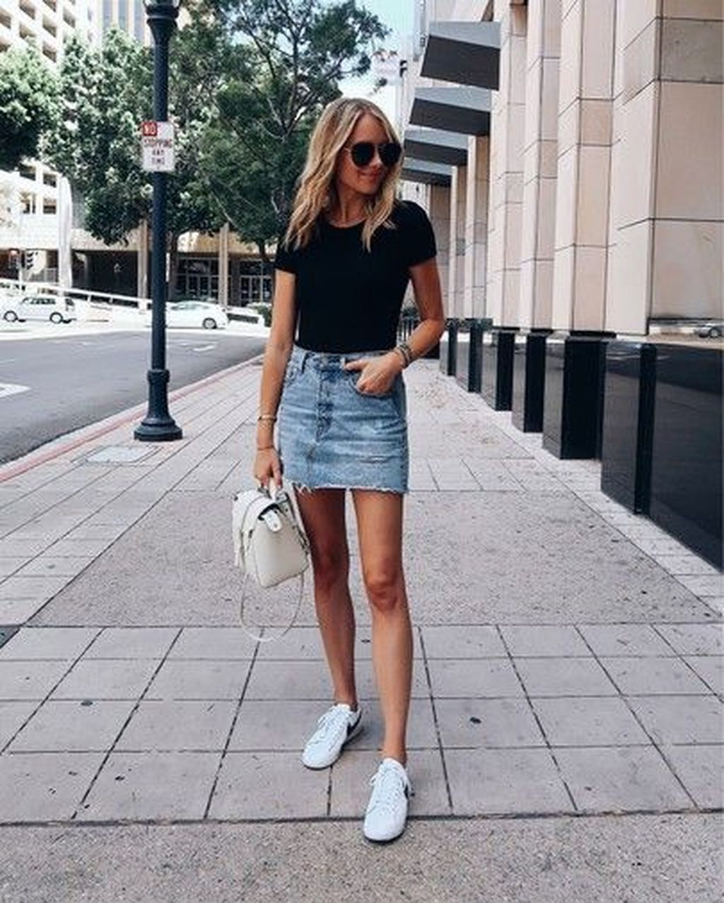 denim skirt with trainers