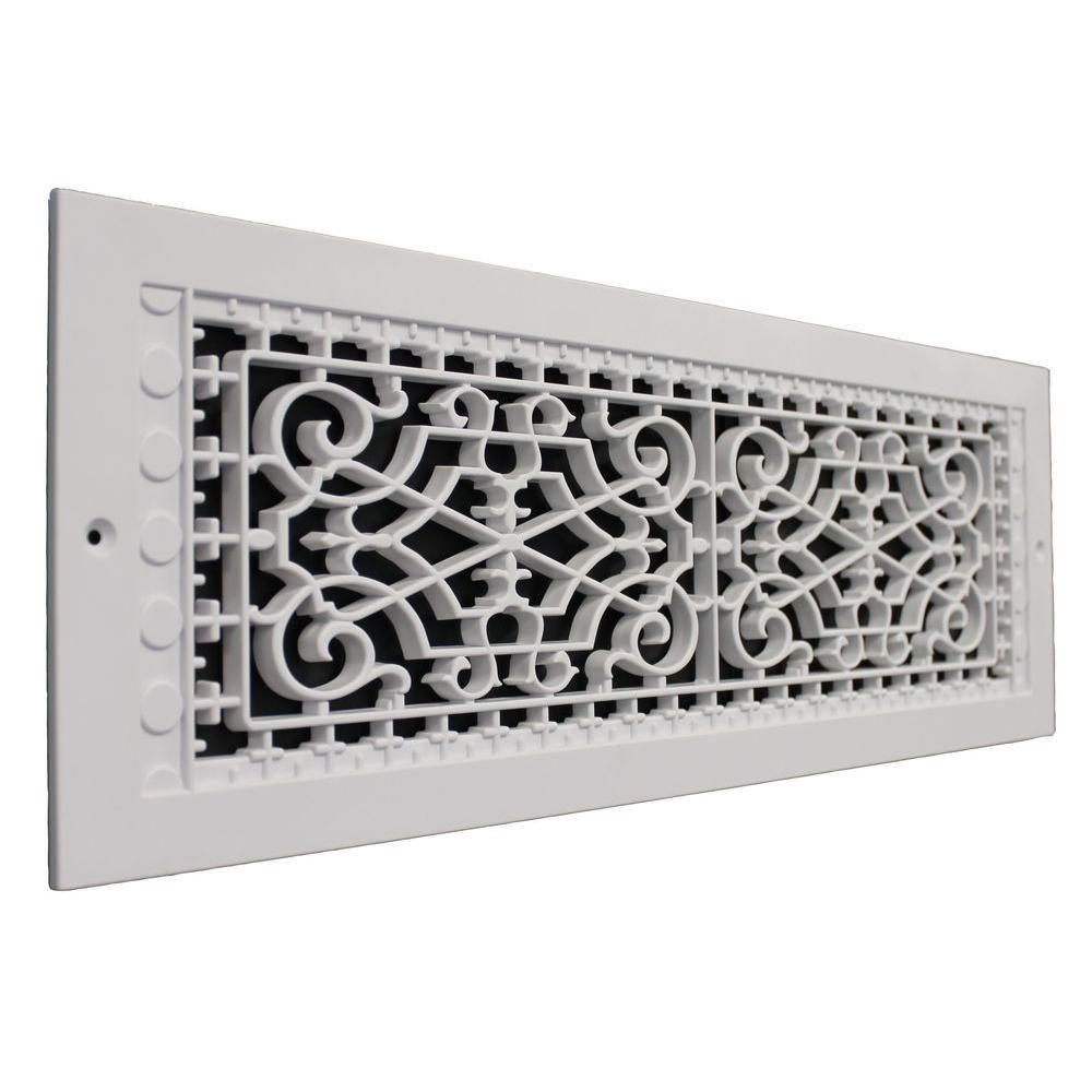 Smi Ventilation Products Victorian Wall Mount 22 In X 6 In Opening 8 In X 24 In Overall Size Polymer Decorative Return Air Grille White Vwm622 The Home In 2020 Air