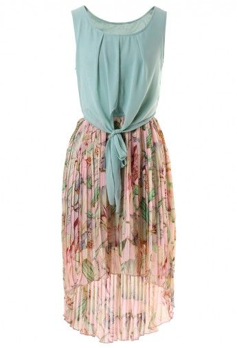 Seafoam Floral Pleated Dress