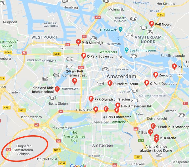 Kostenlos parken am Flughafen Amsterdam Schiphol geht