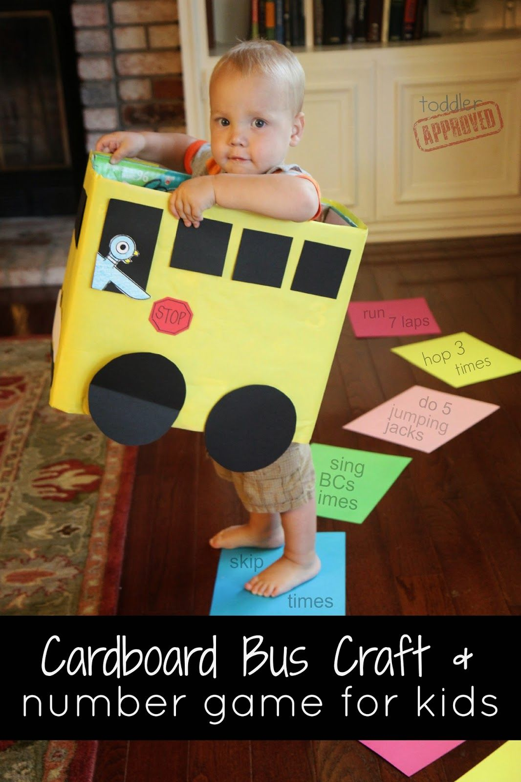 Cardboard Box Bus Craft Amp Number Game For Kids Mo Willems Virtual Book Club For Kids