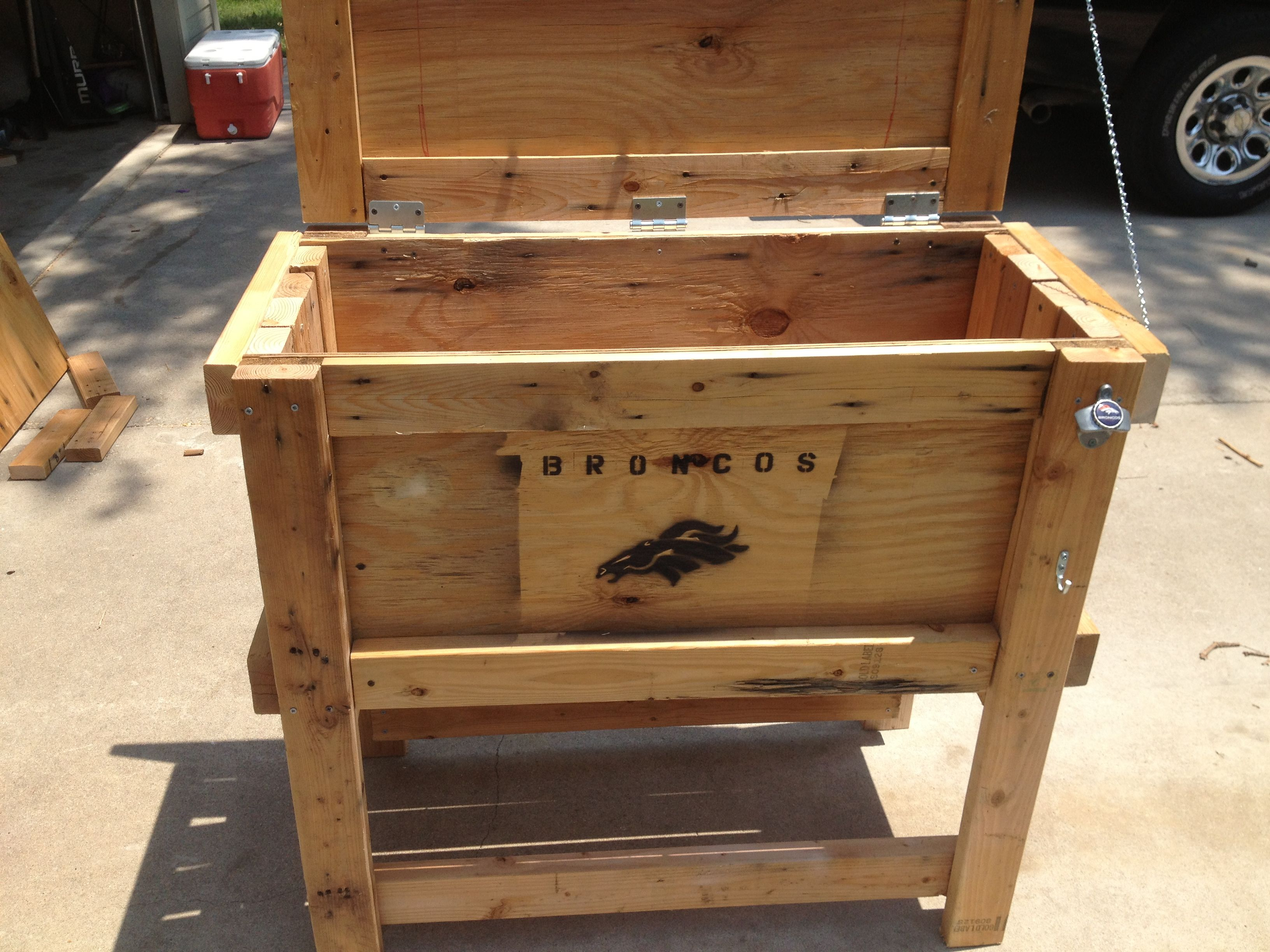 recycled wood cooler box denver broncos style bronco stuff