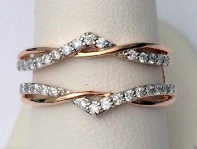 White Gold Solitaire Enhancer Diamond Ring Guard Wrap Gold Diamonds Ringguard Wedding Ring Guard Wedding Ring Enhancers Three Stone Diamond Rings Engagement