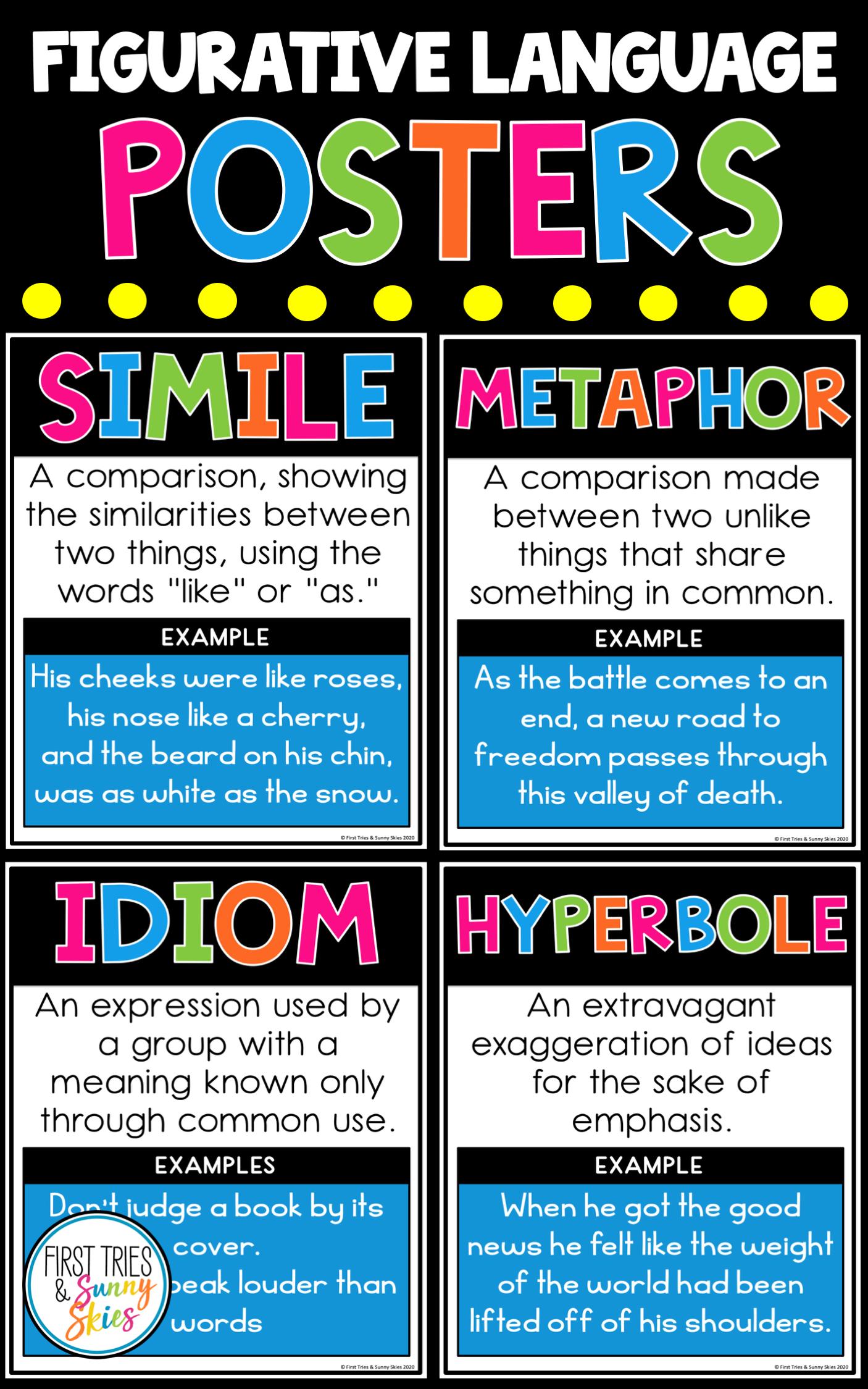 Figurative Language Posters Figurative Language Posters Figurative Language Similes And Metaphors