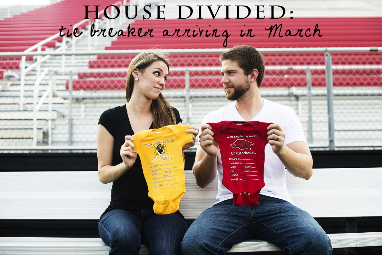 Great baby reveal idea for couples with rival football teams – Football Birth Announcements