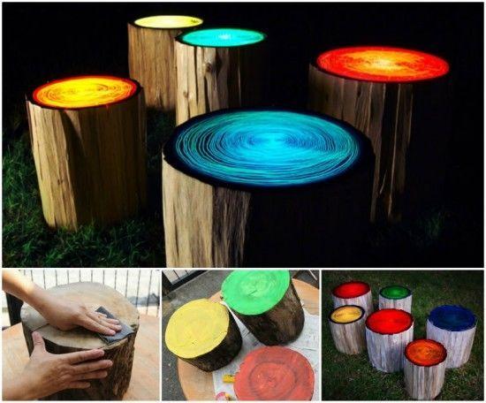 Glowing Tree Stump Stools Diy Craft Crafts Diy Crafts Do