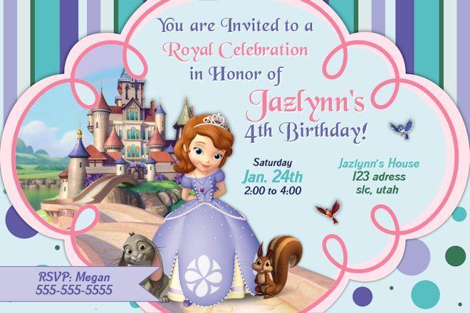 Sofia the First Birthday Invitation Disneys princess Sofia