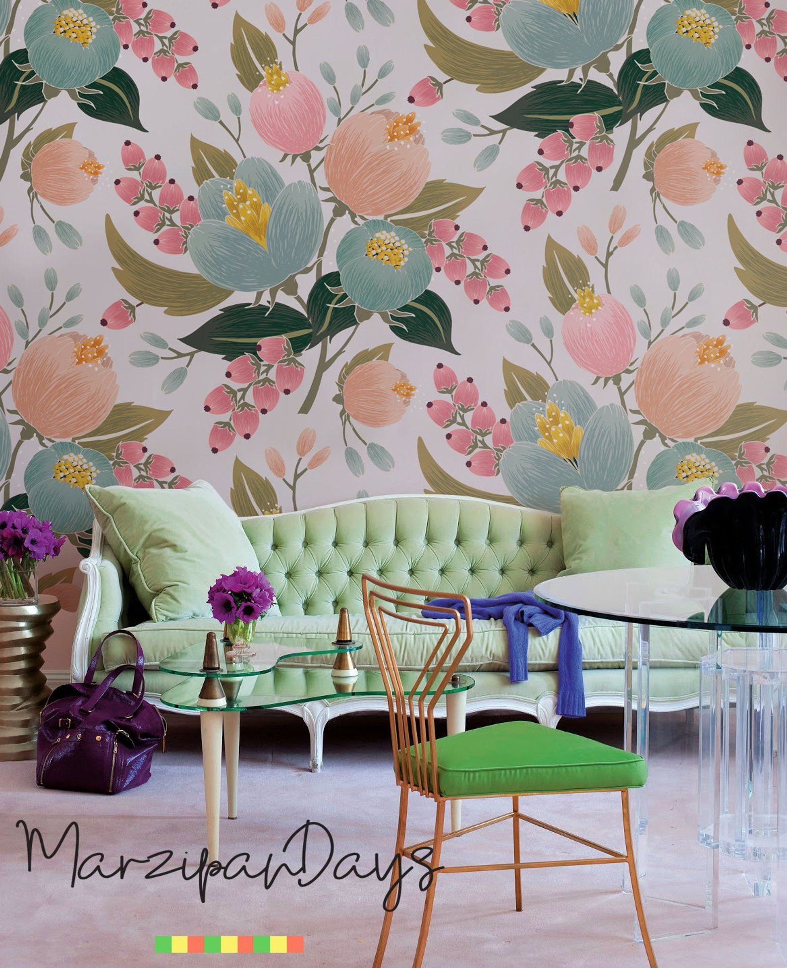 Pink poppy removable wallpaper Floral wall mural Floral