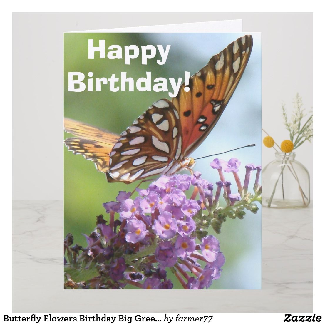 butterfly flowers birthday big greeting card - Big Greeting Cards