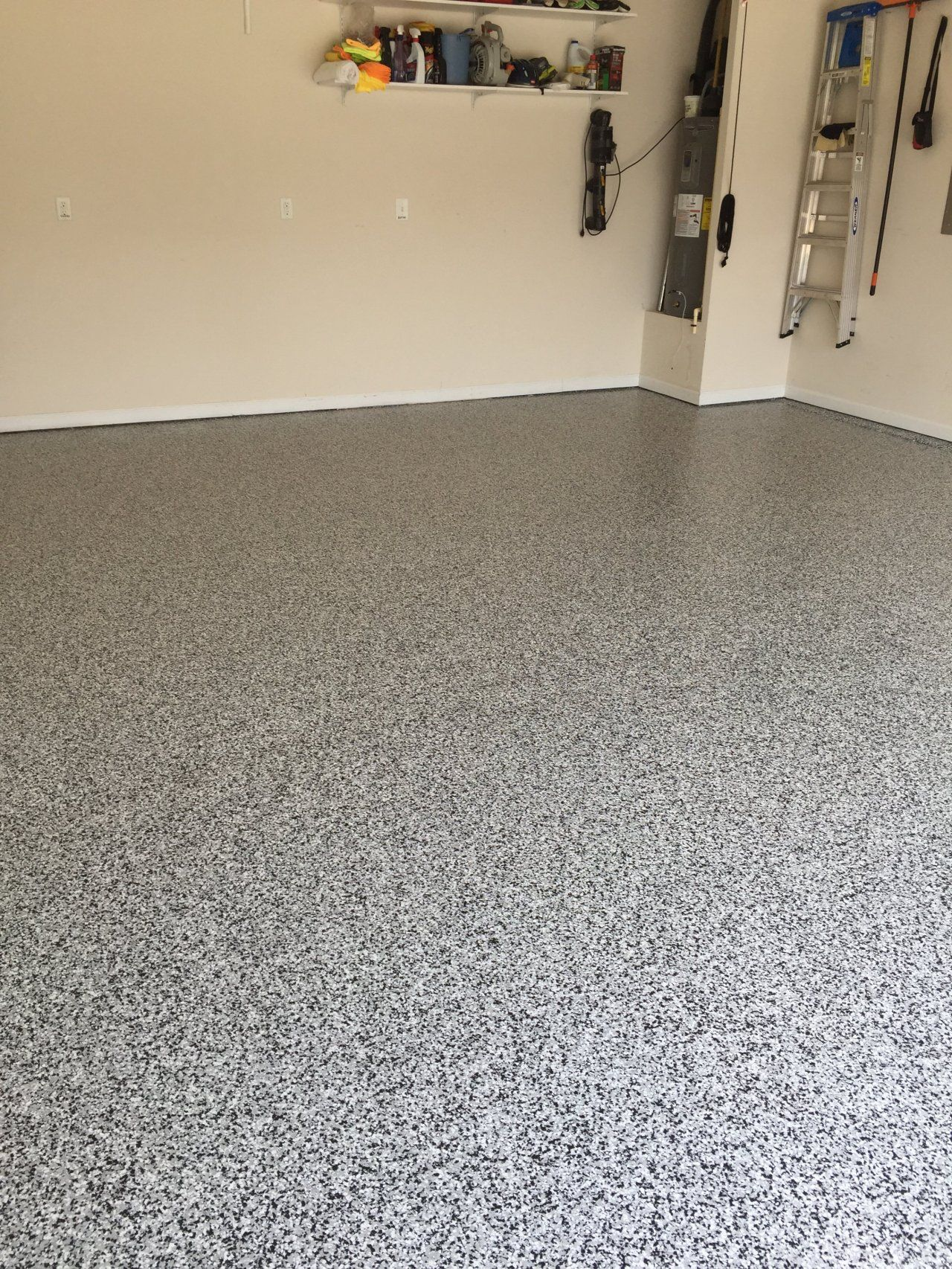 Garage Epoxy With Flakes Decorative Epoxy Flake Garage Floor In Cary North Carolina