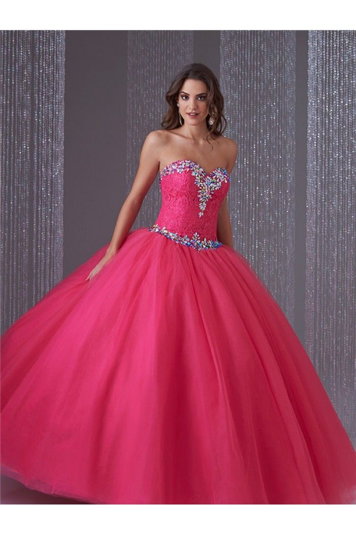 Puffy Ball Gown Hot Pink Lace Tulle Beaded Corset ...