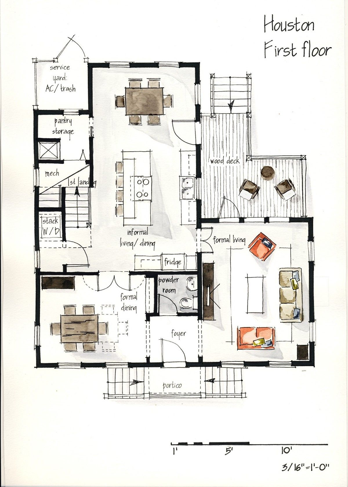 Real estate watercolor 2d floor plans part 1 on behance for Apartment 2d plans