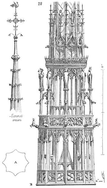 Dessin de viollet le duc fl che de la cath drale d 39 amiens for Architecture neo gothique