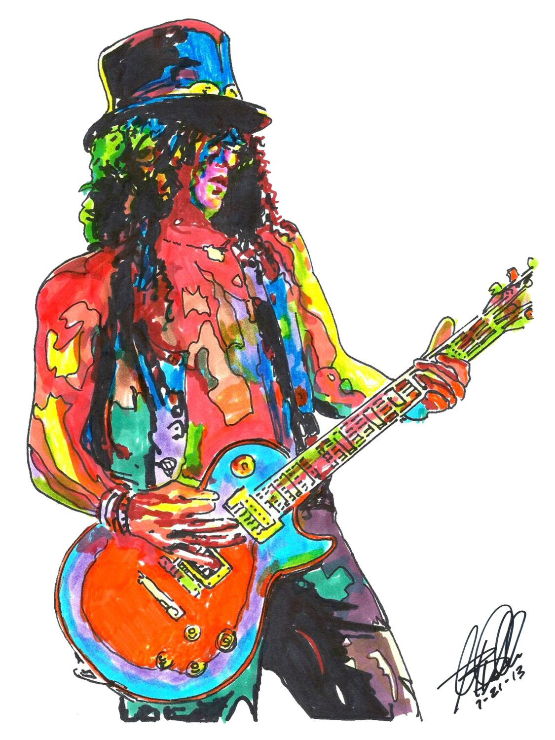slash guns n 39 roses lead guitar guitarist hard rock poster from original dwg 18 x 24. Black Bedroom Furniture Sets. Home Design Ideas