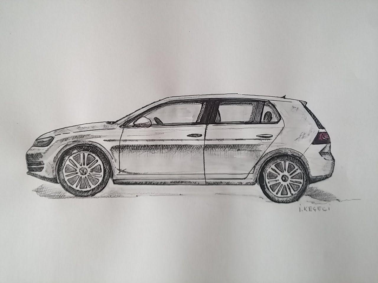 Vw Golf 7 Cizimi Timelapse Video Volkswagen Golf Volkswagen Drawings