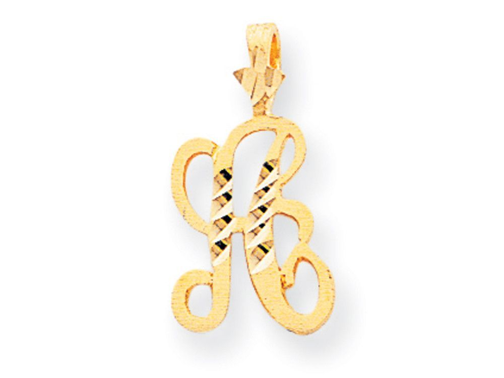 10k Bright-cut Grooved Initial A Charm