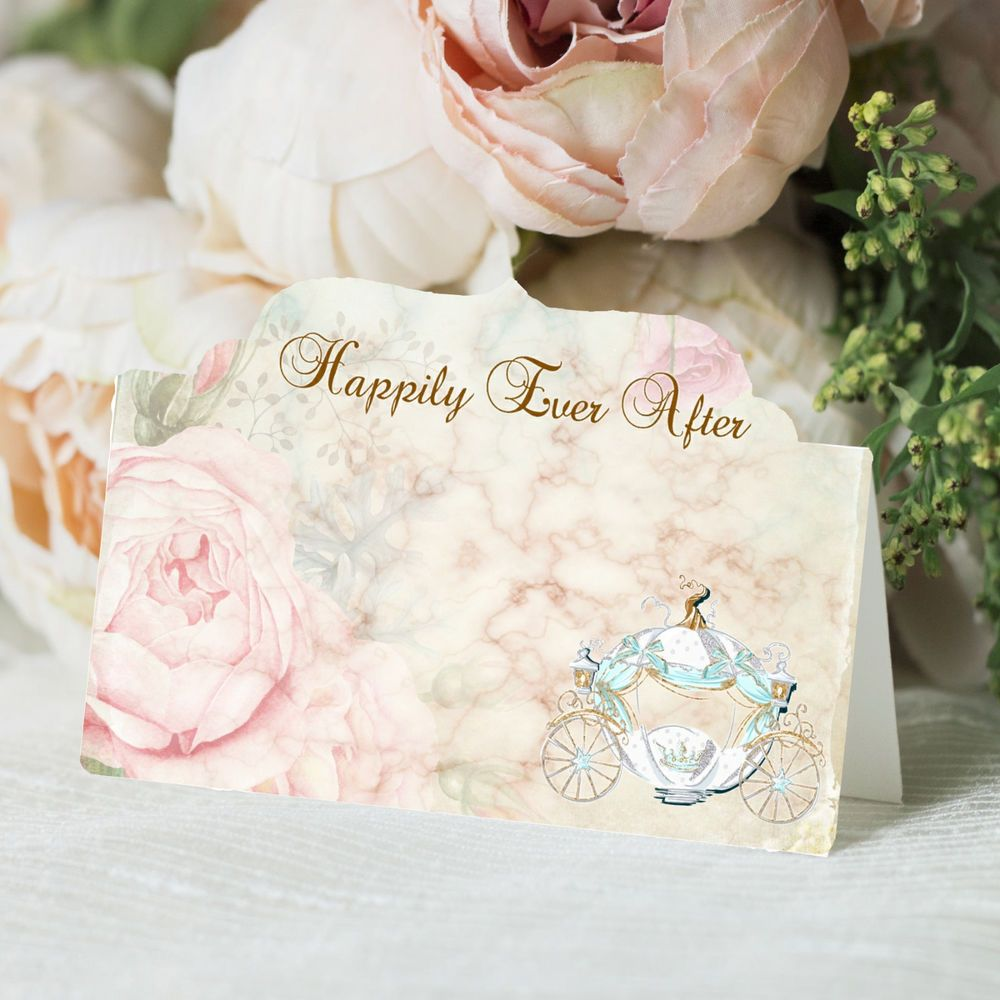 Ever After Name Place Seat Cards Cinderella Princess Carriage Reception