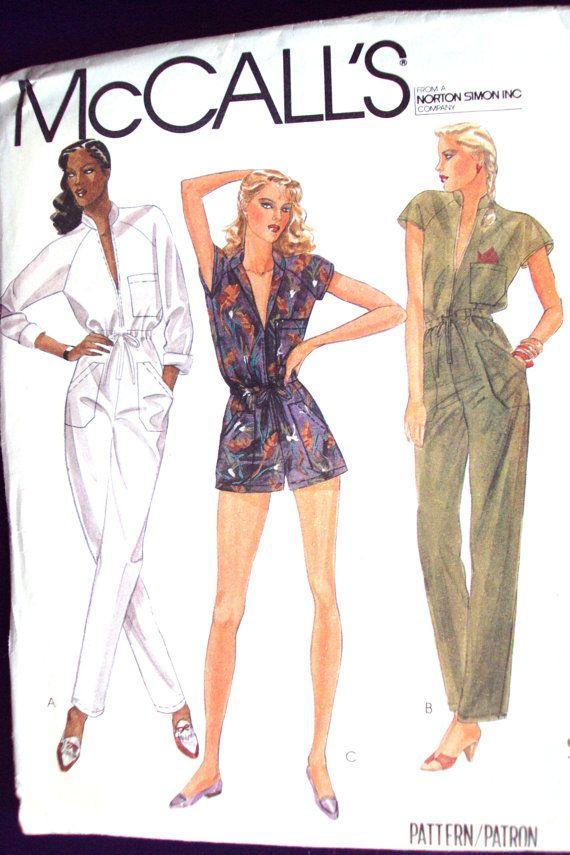 80s jumpsuit & romper vintage sewing pattern - size 12 | Pinterest