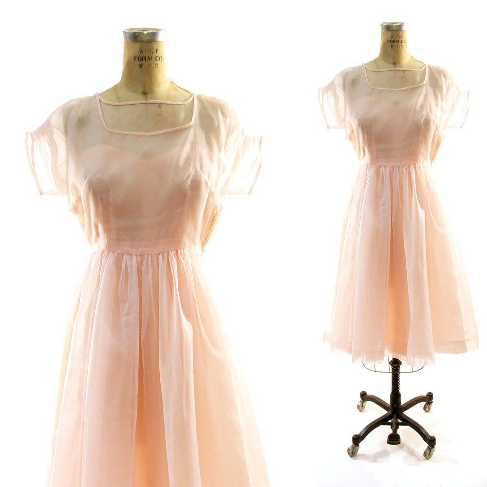 50s Cocktail Dress with Petal Pink Chiffon Overlay. $112.00, via ...