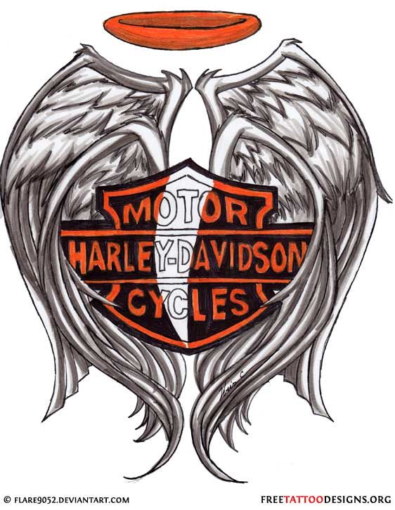 Harley Davidson Logo Tattoo Design With Wings And Halo Harley Davidson Tattoos Harley Tattoos Harley