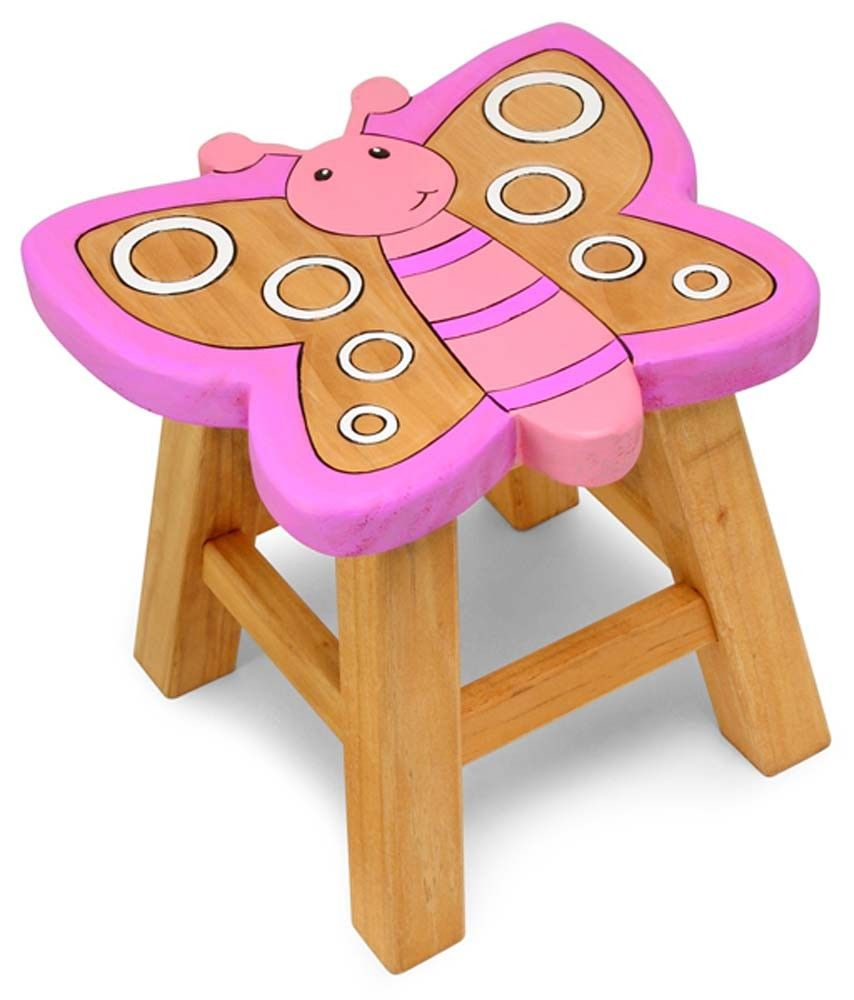 Beautiful Hand Painted Solid Wood Butterfly Stool Just Great For