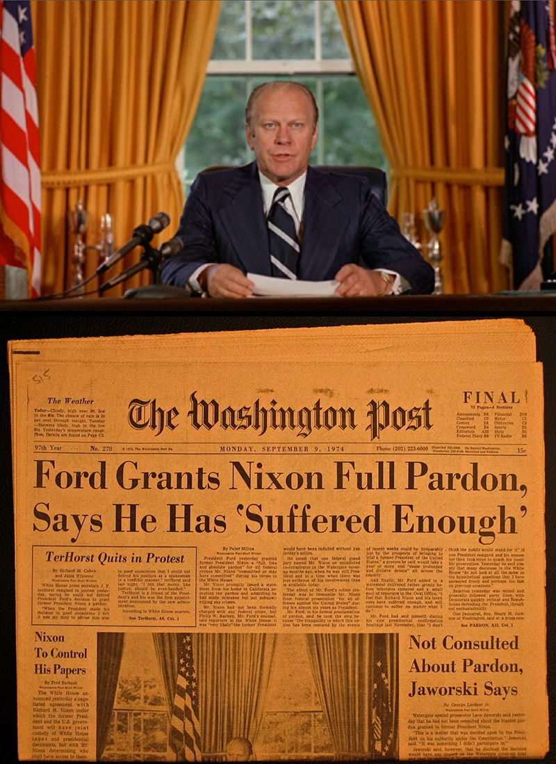 Image result for president gerald ford granted pardon to richard nixon