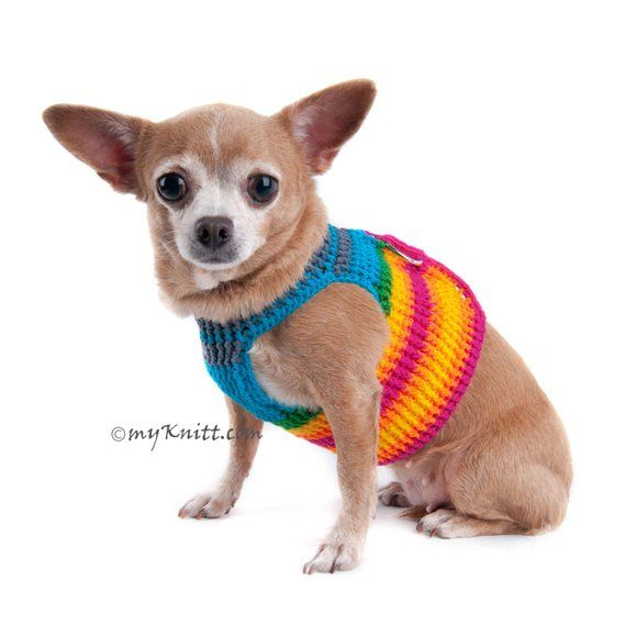 Extra Small Dog Harness Rainbow Colorful Cotton Pet Collar Comfy