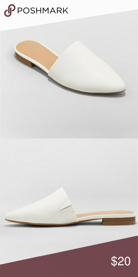 White Backless Flat Pointed Toe Mules