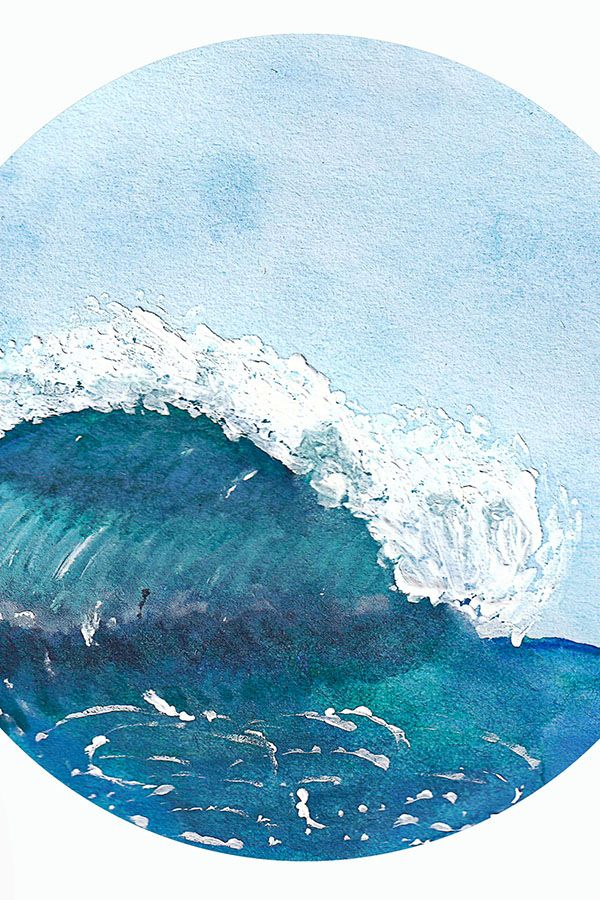 Postkarte Aquarell Welle Meer Surf Karte Leinwandkunst Wellen