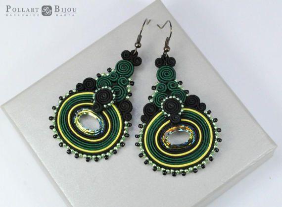 Green emerald soutache, Soutache earrings, orecchini soutache, soutache bilateral, boucles d'oreilles soutache, Swarovski