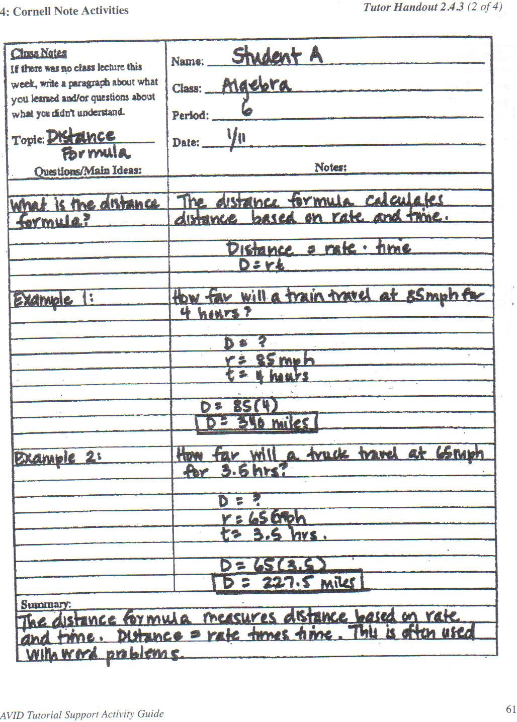 Cornell Notes Example Cornell Notes Cornell Notes Example High