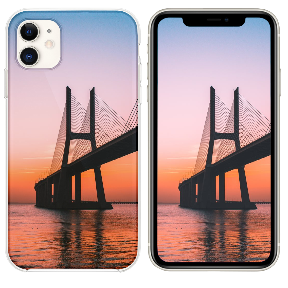 Silhouette Of Bridge Under Clear Sky Iphone 11 Case And Wallpaper Wallpaper Sky Iphone 11