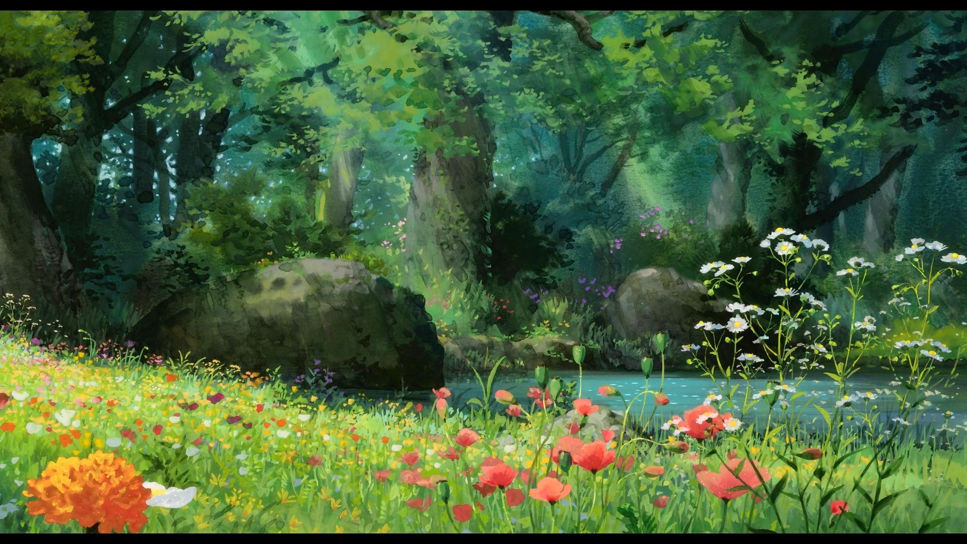 Anime Forest Hd Wallpaper 1920x1080 Anime Scenery Studio Ghibli Background Landscape Poster