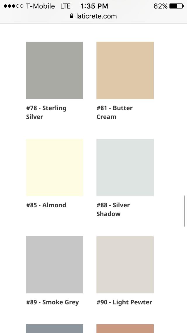 Laticrete Silver Shadow Vs Smoke Grey Sterling Ranked Lightest To Medium