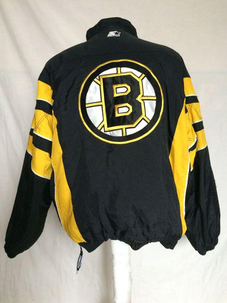 ebc919b11 Starter Boston Bruins Pullover Coat Jacket XL NHL Hockey Nylon Yellow Black  #Starter #BostonBruins