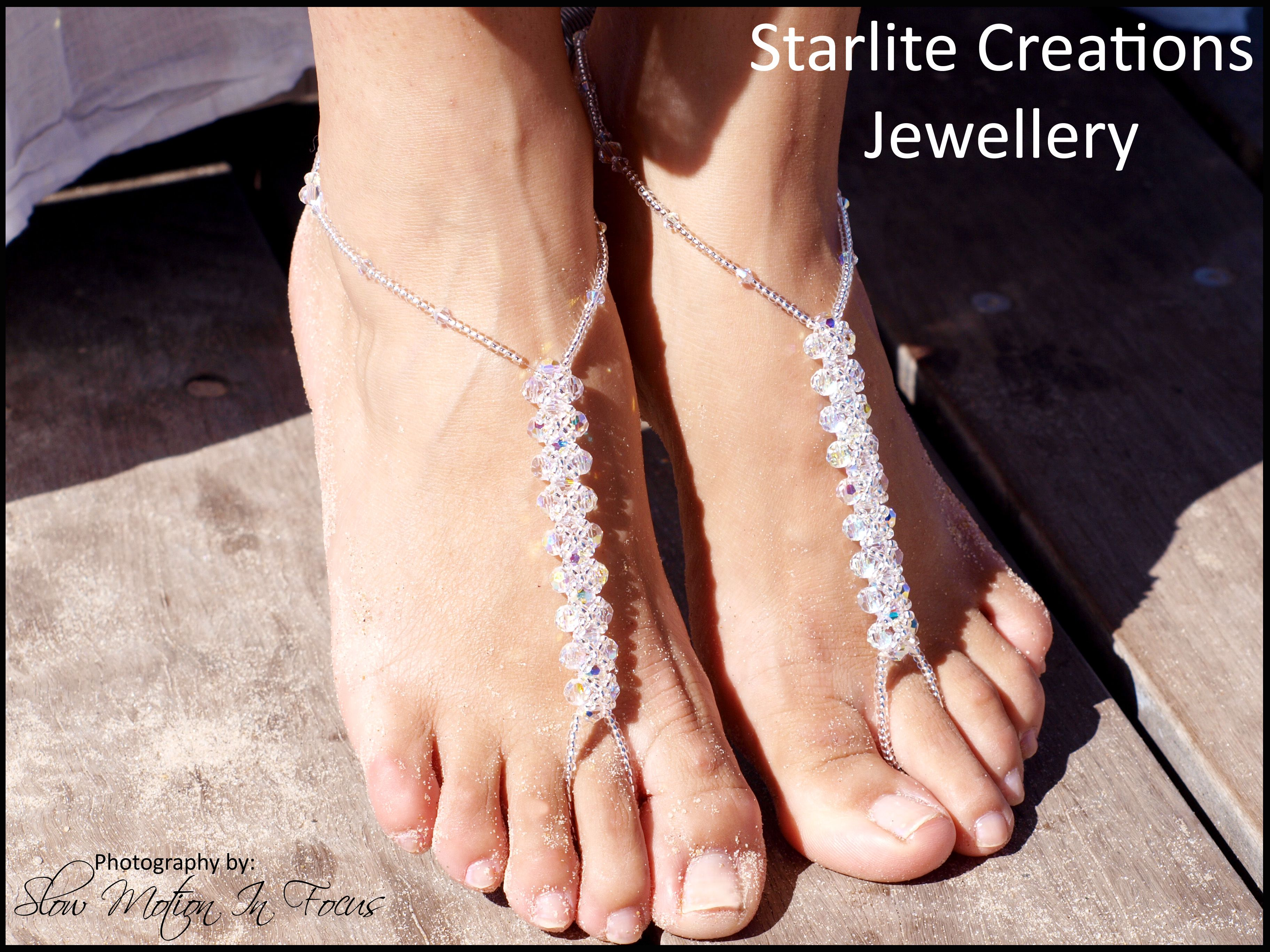 "Barefoot Sandals ""PRINCESS"" with Swarovski AB Crystals"