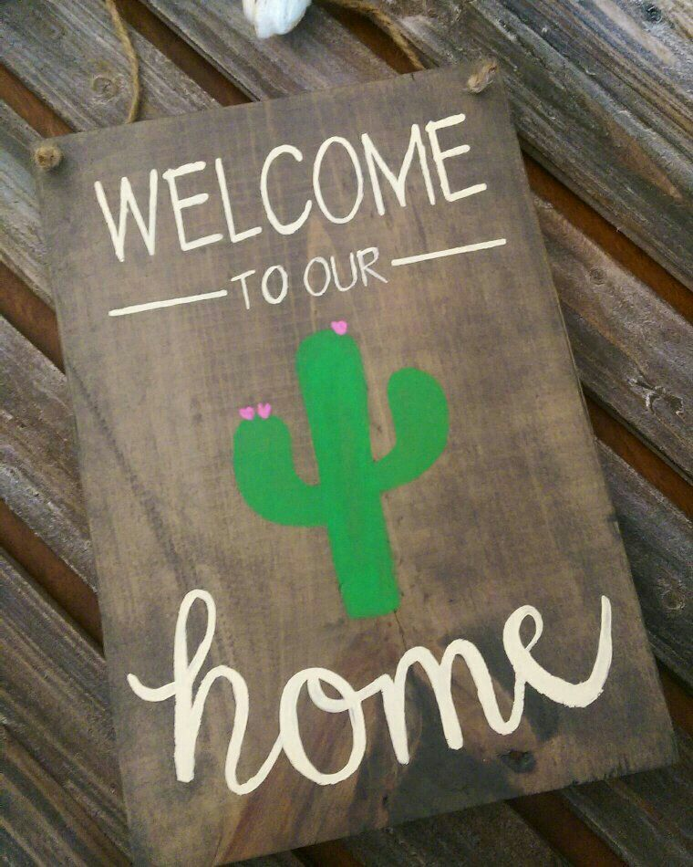 Welcome To Our Home Saguaro Cactus Wood Sign Welcome