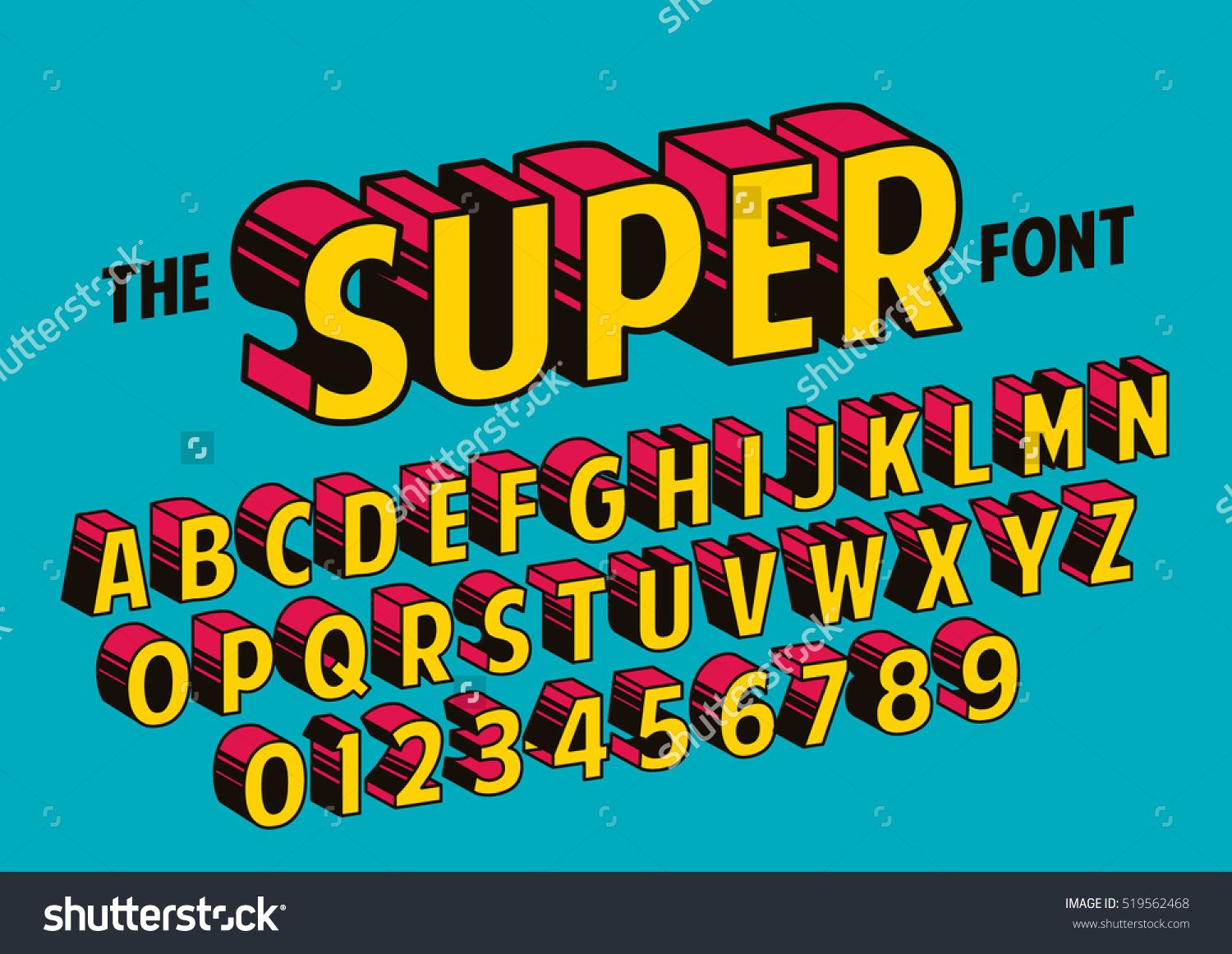 Vector of stylized retro font and alphabet Typography