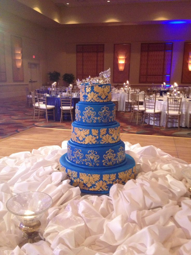 Royal Blue And Gold Indian Wedding Cake