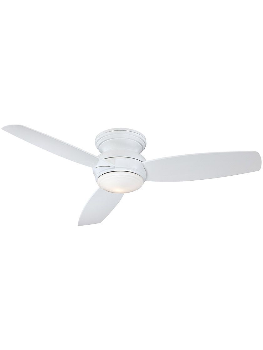 52 Traditional Concept Flush Mount Led Ceiling Fan In White Enamel Led Ceiling Fan Ceiling Fan Vintage Ceiling Fans