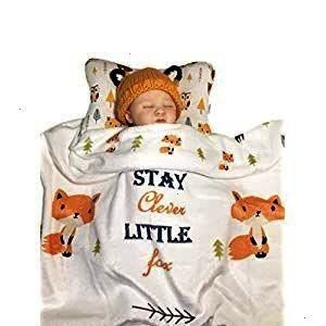 Baby Pillow with Clever Fox Fleece Blanket 2 Pc Set Ergonomic Support to Help Head Shaping Baby Pillow with Clever Fox Fleece Blanket 2 Pc Set Ergonomic Support to Help P...