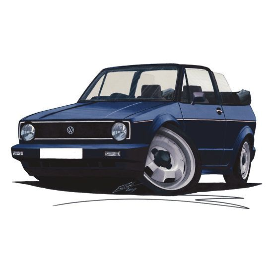 Mk1 Vw Golf Cabrio Cabriolet Cute Cartoon Illustration
