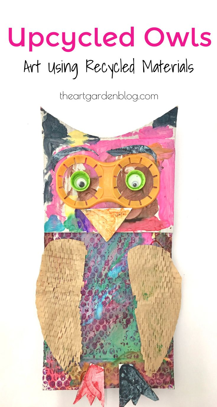 Upcycled Owls Art Using Recycled Materials - Elementary art projects, Animal art projects, Recycled art projects, Kids art projects, Recycled art, Art projects - Get creative with recycled materials for this fun owl project for children