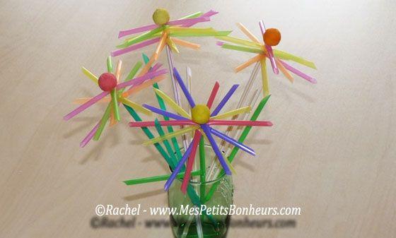 bricolage avec des pailles fleurs multicolores bouquet pinterest fleur multicolore. Black Bedroom Furniture Sets. Home Design Ideas