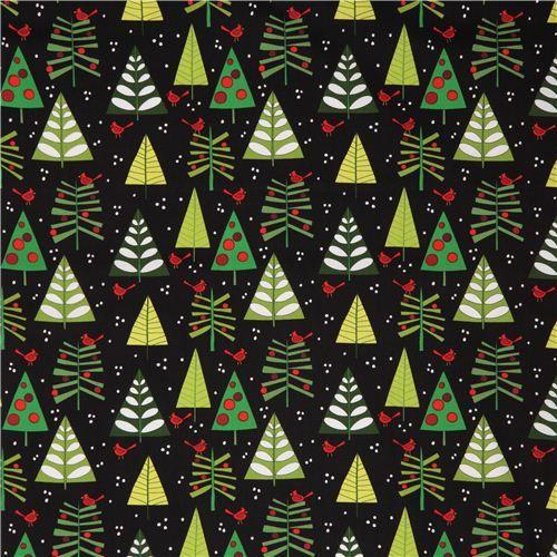 Schwarzer Weihnachtsbaum.Susser Schwarzer Weihnachtsbaum Vogel Weihnachtstoff Andover