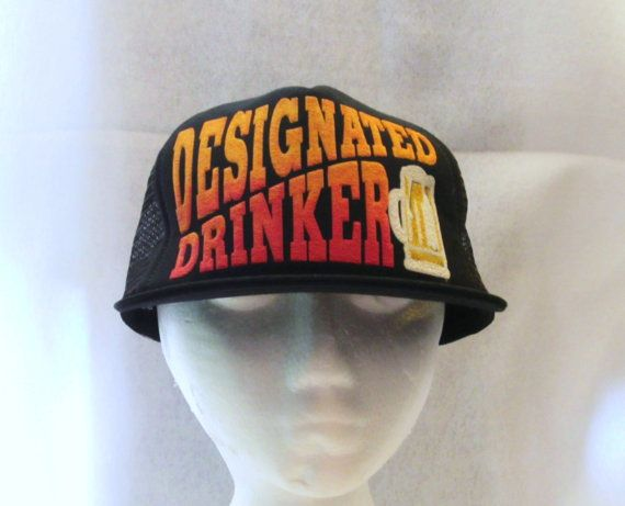 Vintage 70s DESIGNATED DRINKER SNAPBACK Funny Raised Graphic One Size  Trucker Style Hat 5c1c52036a5f